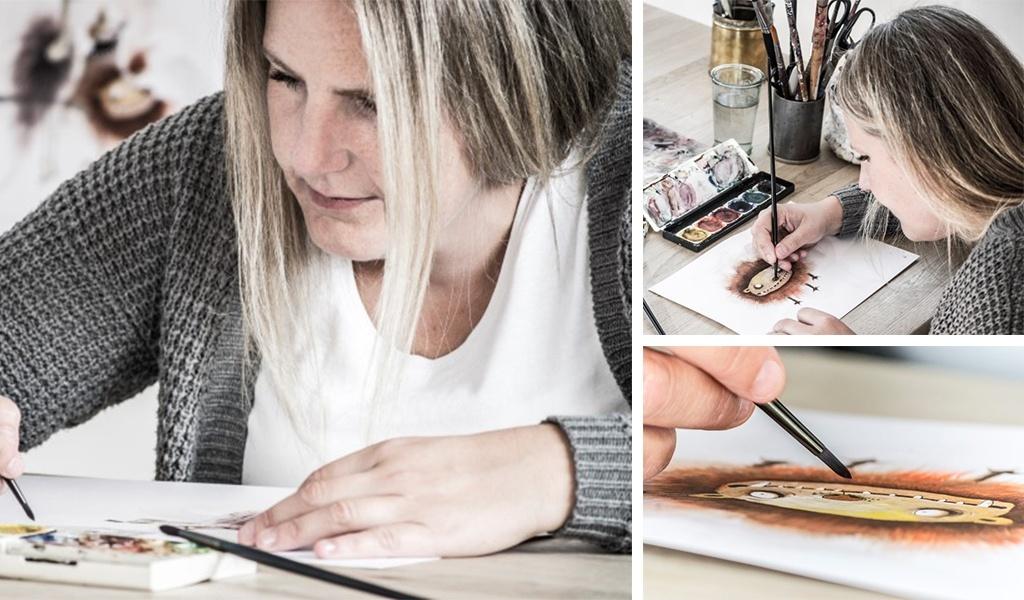 Illustrator Julie Østergaard tegner