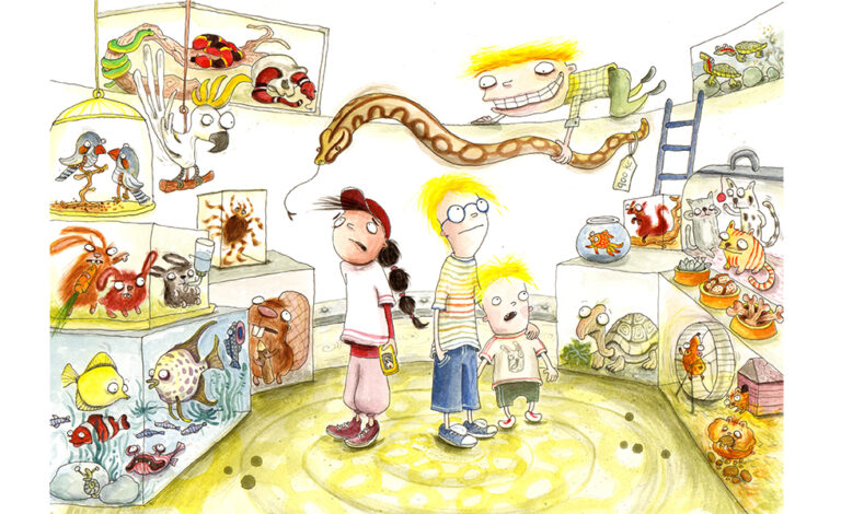 Tre børn i en dyrehandel