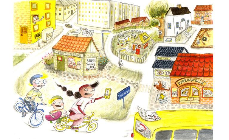 Tre børn cykler i byen